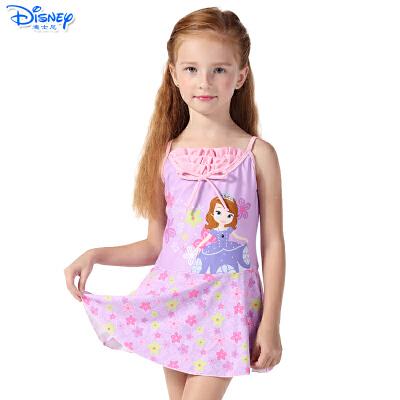 迪士尼儿童公主宝宝连衣裙式防晒韩版连体女孩装女童泳衣SPQ10019