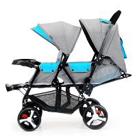 双胞胎婴儿手推车轻便折叠前后可座可躺双人推车宝宝童车 加长越野版餐盘款加雨罩 备注车子颜色