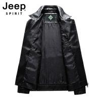 Jeep吉普男士秋冬西装领皮衣夹克男士翻领休闲机车款皮夹克耐穿耐磨男款皮衣茄克