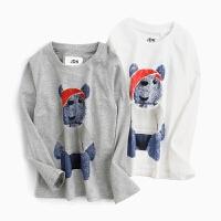 男童长袖t恤儿童纯棉熊仔印花圆领打底衫中大童童装上衣