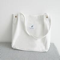 文艺简约大容量便携帆布包单肩折叠环保购物袋男女同款 其他