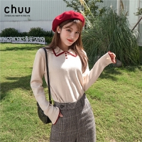 chuu翻领针织衫秋季新款女套头2019polo领韩版学生长袖毛衣打底衫