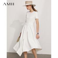 Amii极简不规则假两件连衣裙2021年夏季新款白色初恋裙子女A字裙