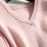 秋冬新款羊绒衫女V领长款打底毛衫时尚保暖毛衣女外套针织衫