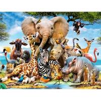 玩具礼物 老虎大象狮子 动物王国儿童1000片木质拼图