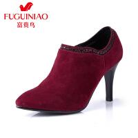 富贵鸟 秋季新款女鞋及踝靴英伦高跟鞋