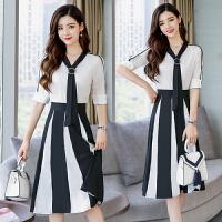 冷淡风连衣裙女两件套夏装2018新款韩版显瘦极简长裙套装雪纺裙子 图片色