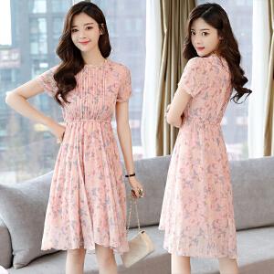 AGECENTRE 2018夏装新款 夏季新款女装圆领碎花高腰大摆裙短袖优雅气质连衣裙