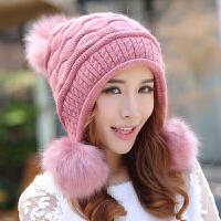 韩版新款兔毛帽子女冬天毛线帽纯色护耳帽冬季双层保暖针织帽潮