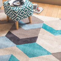 欧式几何办公室茶几地毯 现代简约客厅地垫卧室房间床边长毛毯子 湖蓝色 都市的节奏