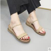 坡跟凉鞋女仙女风网红同款原宿风罗马平底拖鞋两穿女