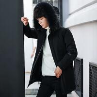 中长款羽绒服男连帽韩版修身大毛领御寒服冬季加厚青年学生外套潮 黑色