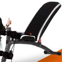 多功能仰卧起坐板腹肌收腹机家用健身器材哑铃凳 版-黑色 配拉绳+拉力器