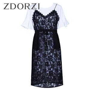 ZDORZI卓多姿夏装韩版蕾丝吊带连衣裙时尚套装734E277