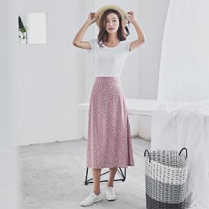 RANJU 然聚2018女装夏季新品新款韩版小清新碎花半身裙中长裙