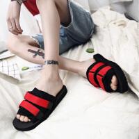 凉拖帆布学生沙滩一字休闲凉鞋夏季韩版潮流个性防滑人字拖鞋男士