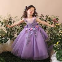 童装礼服女童公主蓬蓬裙钢琴演出紫色生日礼物连衣裙