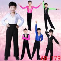 拉丁舞服装少儿舞蹈表演服儿童夏季比赛练功服男童长袖演出服