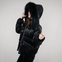 羽绒服女短款2017冬季新款韩版加厚修身显瘦学生百搭时尚大毛领潮 A7881黑色
