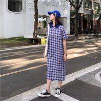 韩版复古风中长款短袖格子连衣裙女夏2018新款学生长裙打底裙
