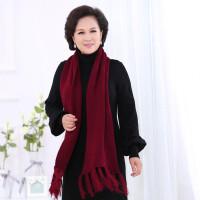 围巾女秋冬天保暖仿羊绒中老年人围巾纯色针织毛线围巾围脖冬季