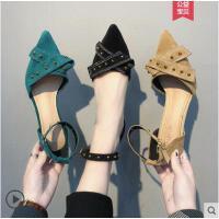 粗跟单鞋女网红同款韩版时尚百搭浅口尖头女鞋一字扣小清新高跟鞋