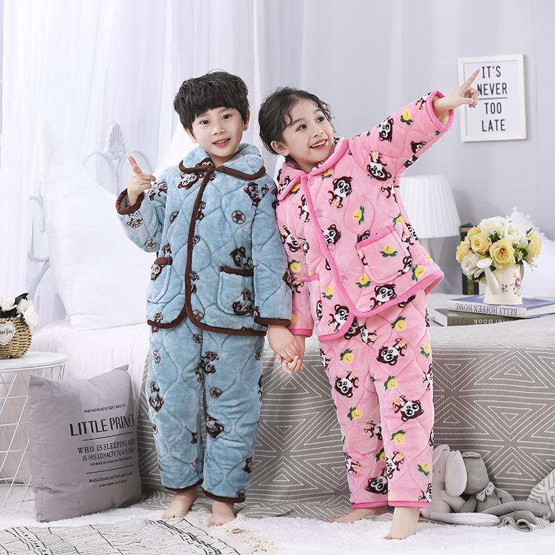 儿童珊瑚绒睡衣女童加绒法兰绒套装