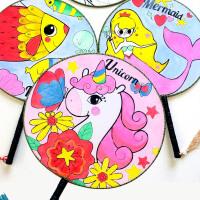 儿童手工diy涂色画扇子制作材料包空白手绘画美人鱼长柄流苏宫扇