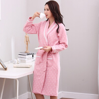 冬天薄款夹棉睡袍女士35-55岁夹层睡衣浴袍大码中年休闲外套长袍
