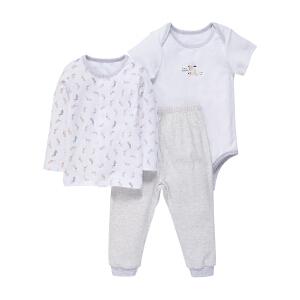 【加拿大童装低至19元】GagouTagou婴儿衣服纯棉保暖男女宝宝衣服哈衣春秋款长袖三件套装