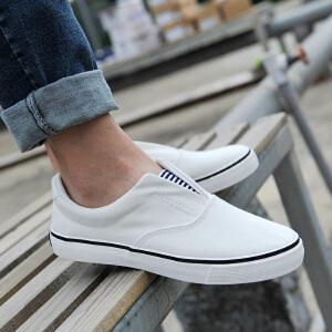 回力男鞋春季小白鞋男女情侣款帆布鞋透气一脚蹬懒人鞋低帮布鞋子