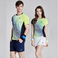 网球队服套装羽毛球比赛服男女情侣装打折修身运动短袖 上衣