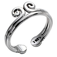 s925银饰品紧箍咒开口情侣戒指一对男女对戒刻字尾戒复古泰银首饰