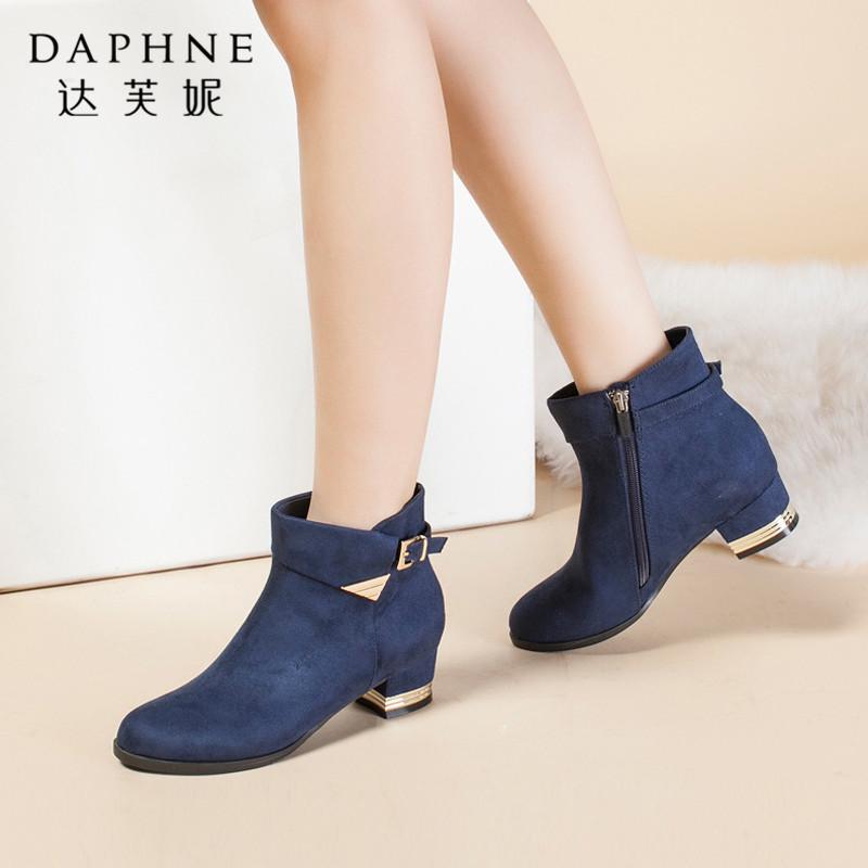 Daphne/达芙妮专柜正品女靴子 冬尖头粗高跟欧美风皮带扣潮女短靴