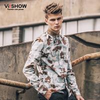viishow秋装新款长袖衬衫 时尚欧美迷彩印花衬衫 衬衣男长袖 C115953