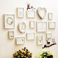 心形照片墙装饰实木相框墙客厅创意爱心背景墙相册框相片挂墙组合