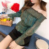 18版网纱蕾丝洋气小衫女装喇叭袖荷叶边一字领上衣长袖