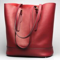七夕礼物2018新款真皮女包时尚牛皮水桶包女士单肩休闲包包手提包一件 酒红色
