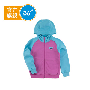 361° 361度童装 女童外套连帽针织外套秋季儿童外套N61812402
