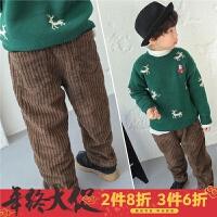 男童裤子加绒冬季2017新款韩版儿童灯芯绒长裤加厚冬装宝宝宽松