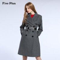 Five Plus新女装双排扣长款宽松长袖羊毛呢外套风衣2HD5345240