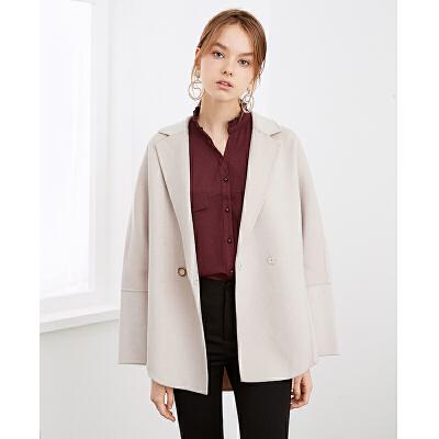 红袖纯色两粒扣落肩袖毛呢大衣简约气质外套