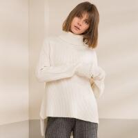 秋冬款高领纯色山羊绒衫女羊毛衫加花毛衣简约加厚宽松针织打底衫