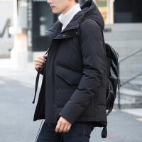 新款男士连帽修身羽绒服反季清仓青年帅气短款冬季加厚外套潮 黑色