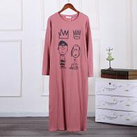 可外穿长款睡裙简约休闲长袖睡衣女坑条纯棉可爱卡通史努比家居服 均码 90-130斤