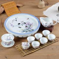 功夫茶具套装 陶瓷工夫整套带圆形茶盘盖碗家用礼品