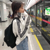 春秋女装新款韩版高领条纹长袖套头T恤加绒加厚打底衫学生上衣潮