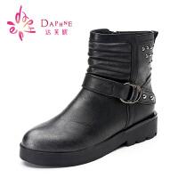 【年终狂欢】达芙妮女靴 冬季女鞋休闲低跟朋克风马丁靴前系带铆钉女短靴