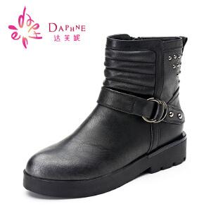 Daphne/达芙妮女靴 冬季女鞋休闲低跟朋克风马丁靴前系带铆钉女短靴