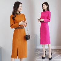 毛呢连衣裙年冬季韩版时尚修身青春气质简约宽松纯色